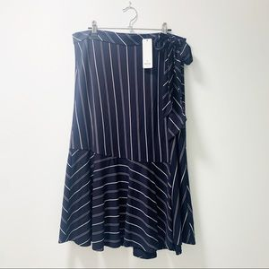 NWT Sussan Navy Stripe Wrap Skirt Size XL